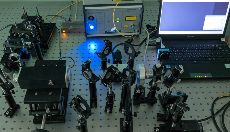 Experimental set up with broadband light source and tunable acousto-optic (AO) filter installed in a Mach-Zehnder interferometer.