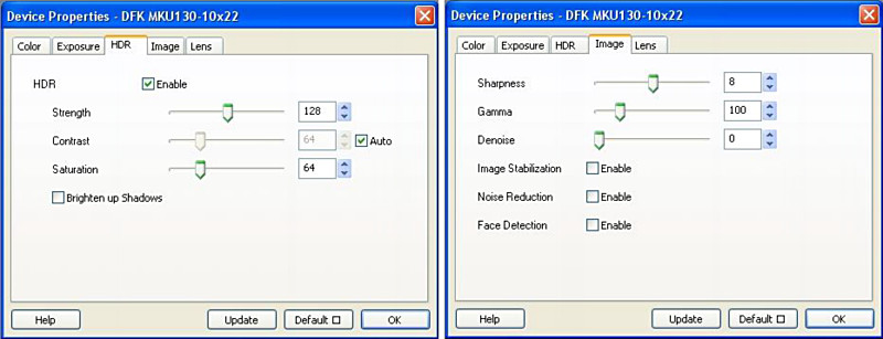 Fig. 5. Windows for activating and deactivating HDR (left), and noise reduction and image stabilization (right).