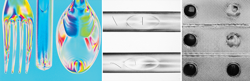 Images from DZK 33UX250: (Left) Using AoLP processing of the polarization data and HSV color mapping to show residual stress in plastic. Images using DoLP processing of the polarization data to reduce glare and improve contrast for defect and presence inspection.