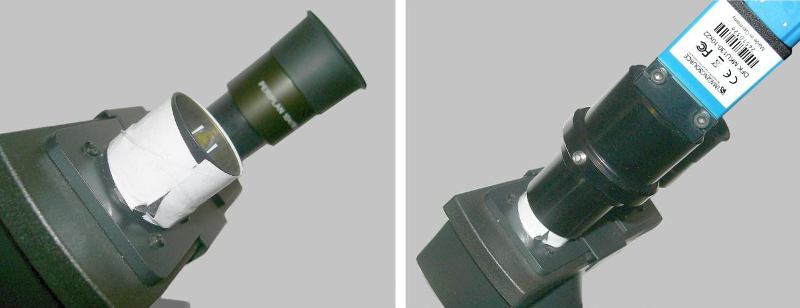 Fig. 3. Use on a tube for eyepieces with a small standard diameter (23.2 mm). The eyepiece head encircled with a paper cuff (left). Camera tube placed on the eyepiece head while using the original microscope eyepiece (shown in the background right).