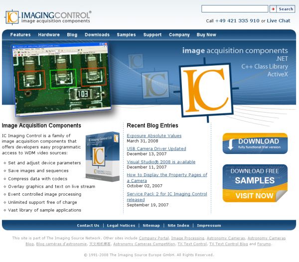 IC Imaging Control web site