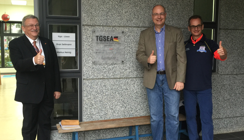 Outside the newly furnished and equipped classroom at the Taipei European School