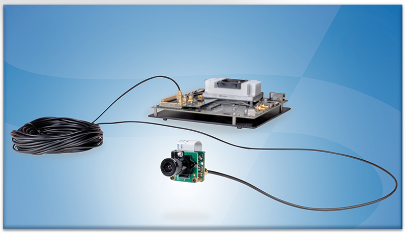 The MIPI/CSI-2 module including serializer is connected to the embedded system (here: NVIDIA Jetson) via FPD-Link III with up to 15 m cable length.