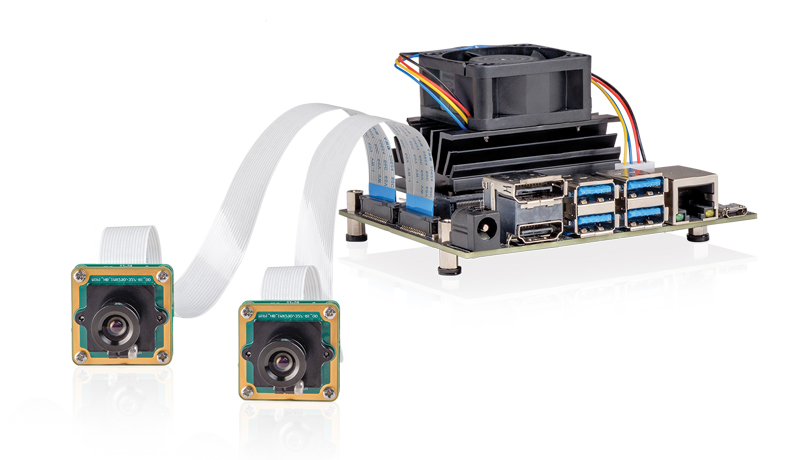 Two-camera development kit with the NVIDIA Jetson Nano (MIPI CSI-2 interface) and added active cooling to prevent thermal throttling.