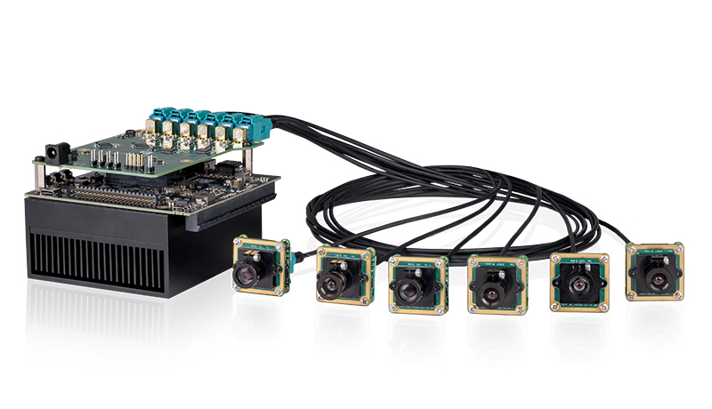 Carrier board with six FPD Link III camera modules using the Jetson AGX Xavier.